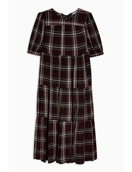 Burgundy Check Chuck On Midi Dress by Topshop