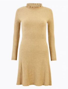 Ruffle Knitted Mini Dress by Marks & Spencer