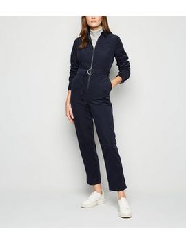 Navy Corduroy Belted Boiler Suit by New Look