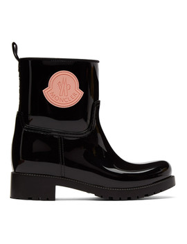 Black Rubber Ginette Boots by Moncler