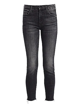 Looker High Rise Fray Ankle Skinny Jeans by Mother