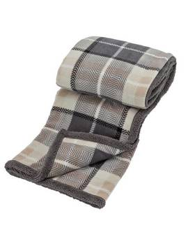 Argos Home Sherpa Check Reverse Throw   Grey193/7787 by Argos