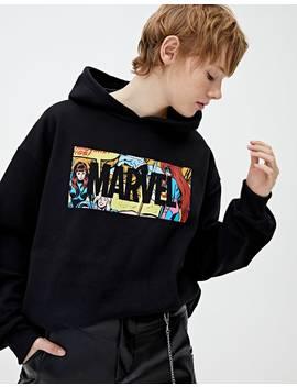 Sudadera Marvel Negra Logo by Pull & Bear