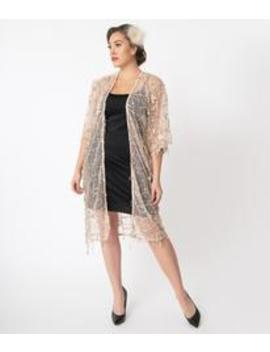 1920s Style Champagne Sequin Mesh Long Kimono by Unique Vintage