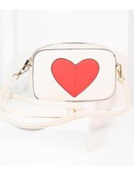 Ivory & Red Heart Leatherette Cross Body Bag by Unique Vintage