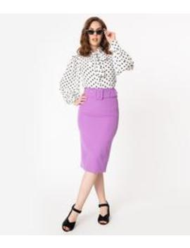 Retro Style Purple Belted Pencil Skirt by Unique Vintage