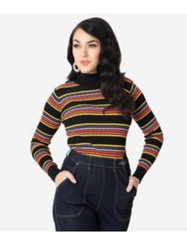 Retro Style Multicolor Stripes Mock Neck Sweater by Unique Vintage