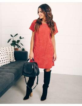 Betsie Pocketed Corduroy Shift Dress   Rust by Vici