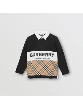 Long Sleeve Logo Print Check Panel Polo Shirt by Burberry