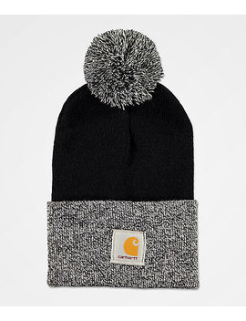 Carhartt Lookout Black & White Pom Beanie by Carhartt