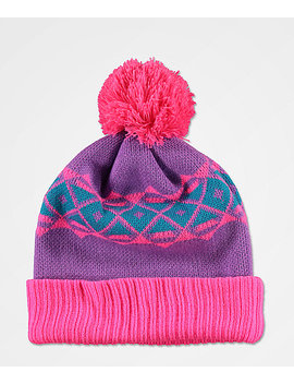 A Lab Toni Ski Skool Pink & Purple Pom Beanie by A Lab