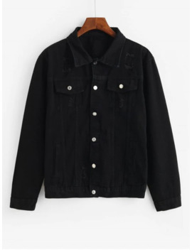 Solid Flap Pocket Ripped Cargo Jean Jacket   Black Xl by Zaful