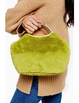 Free Lime Faux Fur Grab Bag by Topshop