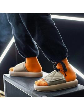 Men Slippers New Kanye Fashion West Summer Flat Sandals Beach Flip Flops Outdoor Slippers Shoes Men Slides Soft Sole by D Hgate.Com