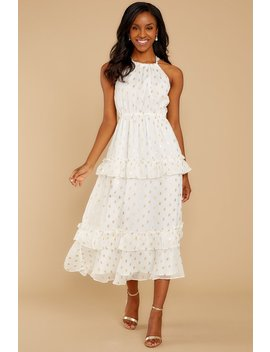 Darling Girl White And Gold Polka Dot Midi Dress by Endless Rose