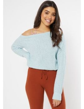 Blue Chenille Off The Shoulder Sweater by Rue21