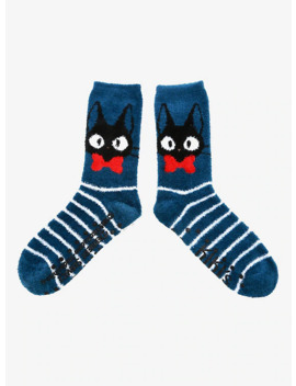 Studio Ghibli Kiki's Delivery Service Jiji Fuzzy Crew Socks by Hot Topic