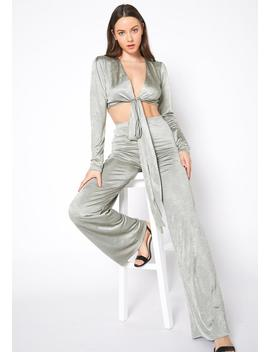 Tansy Sweet Sage Satin Crop Top & Straight Pants Set by Asoph