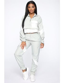 Milan Windbreaker Joggers   Sage/Combo by Fashion Nova