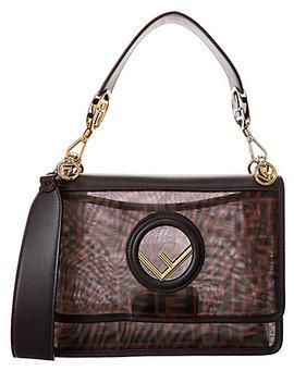 Fendi Kan I F Tech Mesh & Leather Shoulder Bag by Fendi