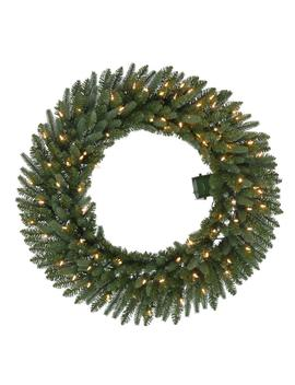 36 In. Battery Operated Pre Lit Led Artificial Meadow Fir Christmas Wreath W/ 341 Tips And 80 Warm White Lights W/ Timer by Home Accents Holiday