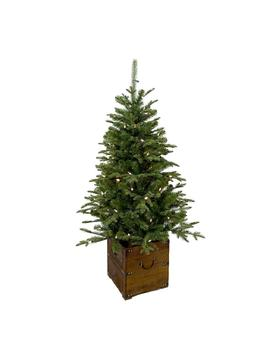 4 Ft. Pre Lit Frasier Artificial Christmas Porch Tree With Warm White Battery Operated Led Light And Wood Pot by Home Accents Holiday