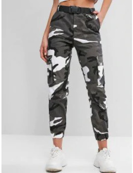Hot Camouflage Belted High Waist Jogger Pants   Multi M by Zaful