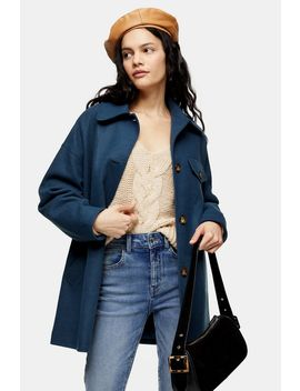 Grey Blue Shacket by Topshop