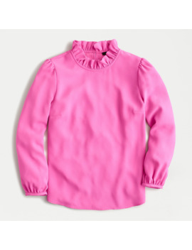 Long Sleeve Ruffle Neck Top In 365 Crepe by J.Crew