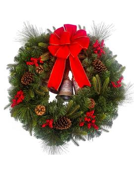 30 In. Un Lit Artificial Christmas Wreath With Bells, Berries And Pinecones by Home Accents Holiday
