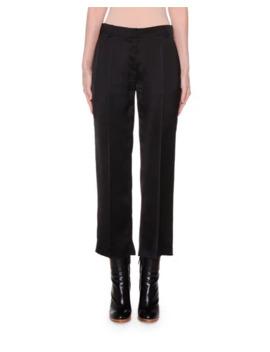 Agnona Cropped Slim Leg Satin Pants by Agnona