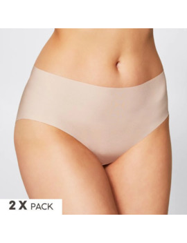 2 Pack No Show™ Laser Cut Midi Briefs   Taupe by Target