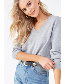 V Neck Long Sleeve Sweater by Forever 21