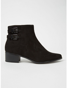 Black Slouch Low Heel Calf Rise Boots by Asda