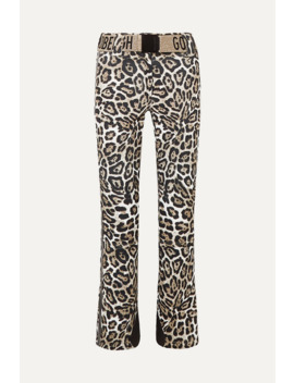 Roar Belted Faux Leather Trimmed Leopard Print Ski Pants by Goldbergh