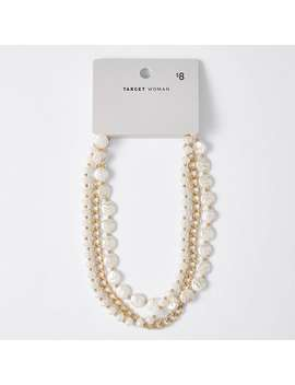 Multi Bead Pearl Necklace   Gold by Target