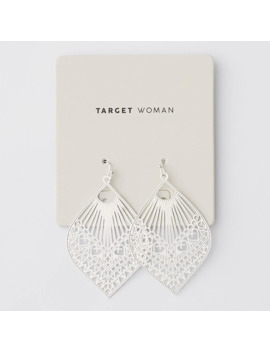 Filigree Leaf Drop Earrings   Silver by Target