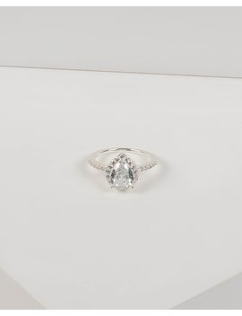 Silver Teardrop Diamante Band Ring by Colette Hayman