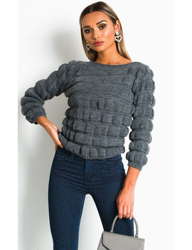 Izzie Chunky Knitted Jumper In Grey by Ikrush