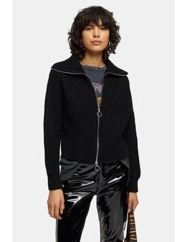 Black Zip Through Sweater by Topshop