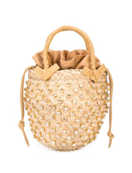 Woven Bamboo Shoulder Bag by Le Nine
