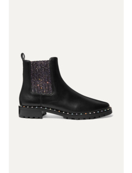 Bessie Studded Leather And Glittered Stretch Knit Chelsea Boots by Sophia Webster