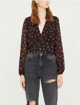Lace Up Front Heart Print Crepe Top by The Kooples
