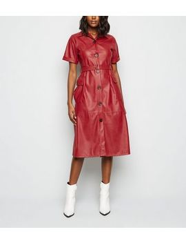 Urban Bliss Red Coated Leather Look Dress by New Look