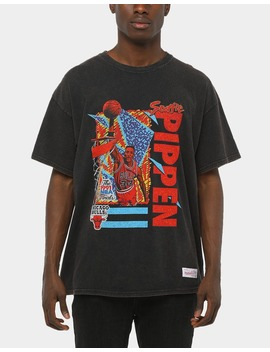 Mitchell & Ness Vintage Bulls Pippen Tee Black by Mitchell And Ness