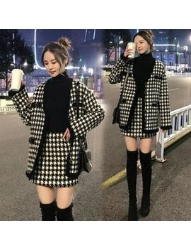 Jeonseon   Set: Houndstooth Blazer + Mini Tweed Skirt by Jeonseon