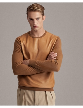 Leather Panel Cashmere Sweater by Ralph Lauren