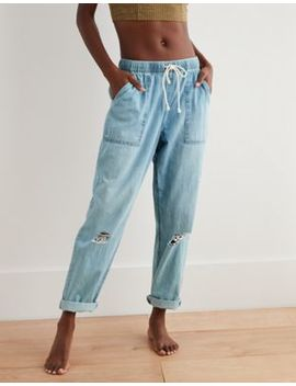 Aerie Distressed Chambray Pant by American Eagle Outfitters