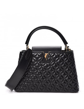 Louis Vuitton Lambskin Quilted Flower Capucines Pm Black by Louis Vuitton