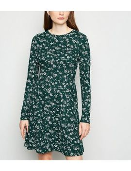 Green Floral Spot Skater Dress by New Look